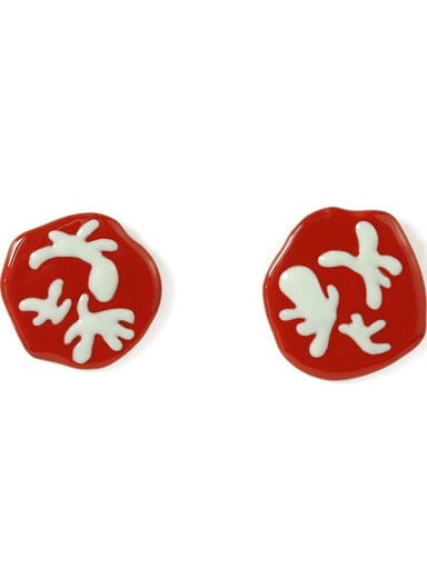 Red Earrings Alloy Enamel Irregular Cute Color Contrast Asymmetry Stud Earring