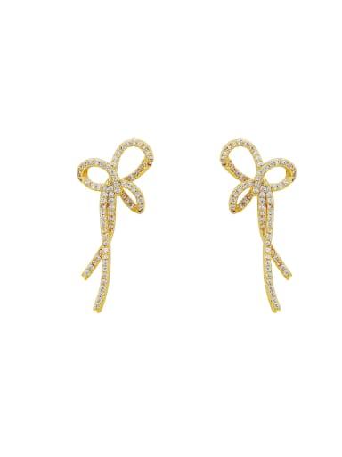 Brass Cubic Zirconia Bowknot Minimalist Drop Earring