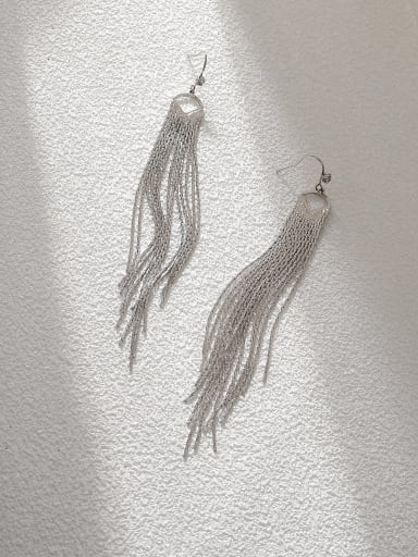 White K Brass Tassel Vintage Threader Earring