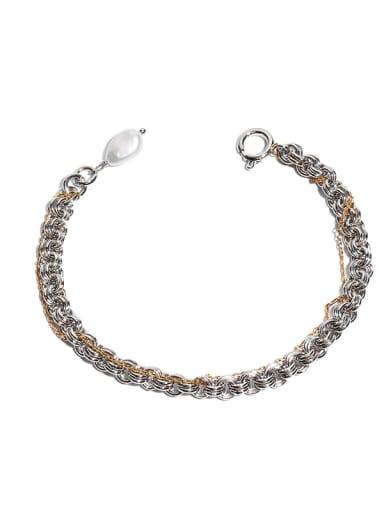 Brass Freshwater Pearl Irregular Hip Hop Strand Bracelet