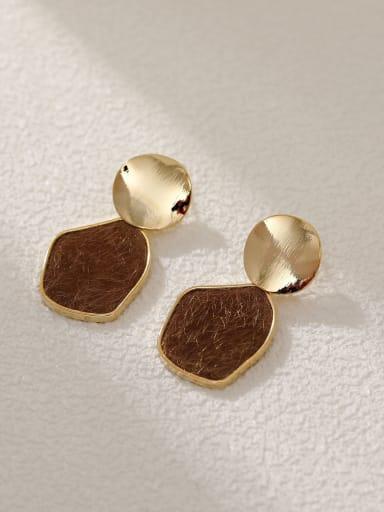14k Gold+ Coffee Brass Resin Geometric Vintage Drop Earring