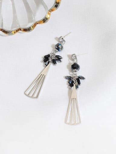 White K dark blue crystal Copper Crystal Geometric Minimalist Drop Earring
