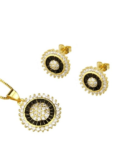 Brass Dainty Round Cubic Zirconia Earring and Necklace Set