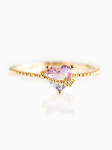 Taoxin  (US. 7) Brass Cubic Zirconia Multi Color Irregular Cute Stackable Ring