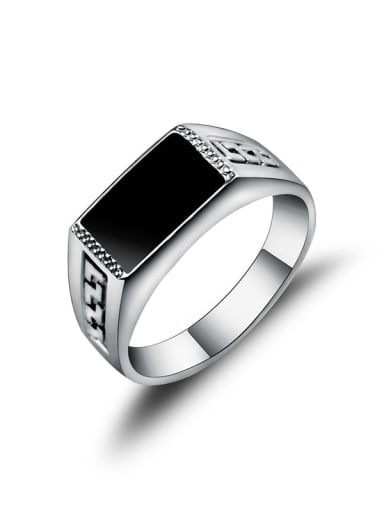 black Zinc Alloy Enamel Geometric Vintage Band Ring