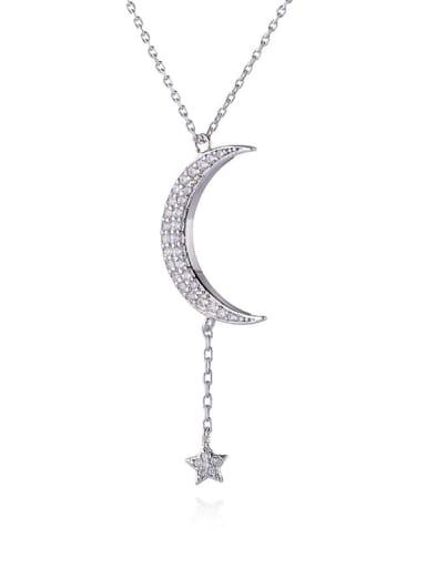 white Brass Cubic Zirconia Moon Minimalist Tassel Necklace