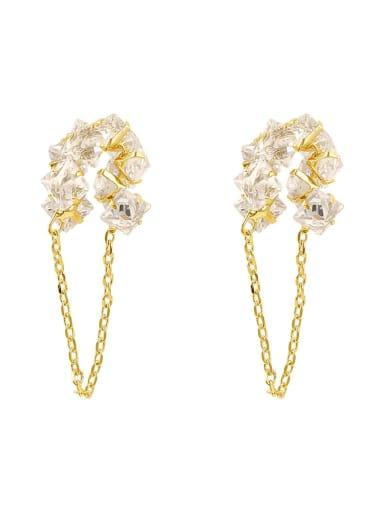 Brass Crystal Tassel Dainty Drop Earring