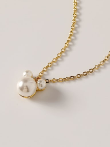 Brass Imitation Pearl Geometric Minimalist Necklace