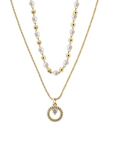 Brass Imitation Pearl Geometric Minimalist Multi Strand Necklace