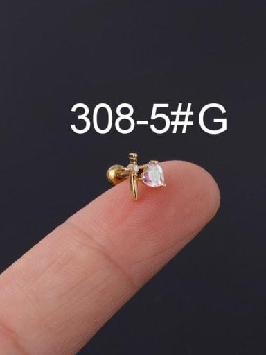 5# gold Brass Cubic Zirconia Multi Color Ball Stud Earring(Single)