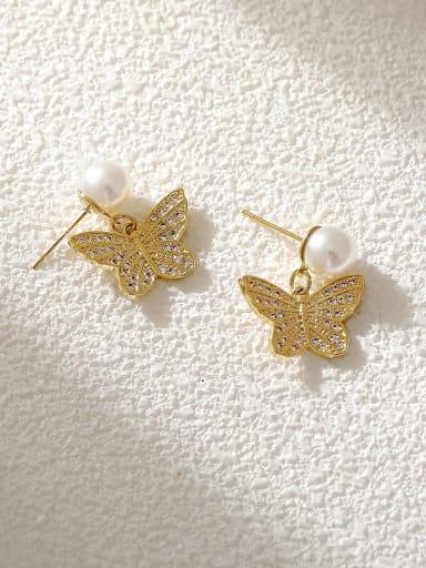 Brass Cubic Zirconia Butterfly Trend Drop Earring