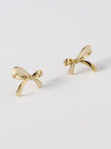 14k Gold off white Brass Enamel Bowknot Minimalist Stud Earring