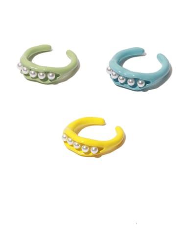 Alloy Enamel Imitation Pearl Geometric Minimalist Band Ring
