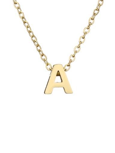 A 14K Gold Titanium Letter Minimalist Initials Pendant Necklace