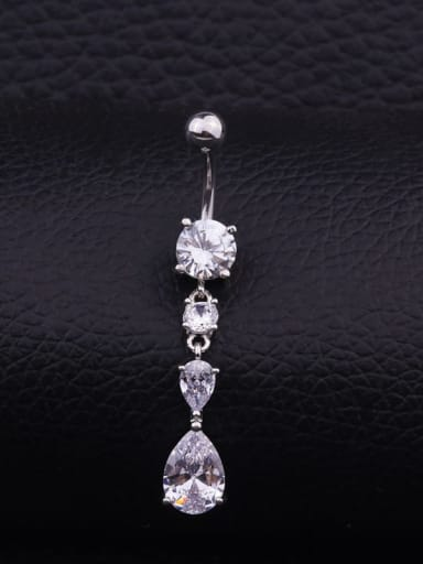 Section  A (single) Stainless steel Cubic Zirconia Water Drop Hip Hop Belly Rings & Belly Bars