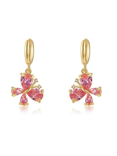 red Brass Cubic Zirconia Multi Color Butterfly Minimalist Huggie Earring