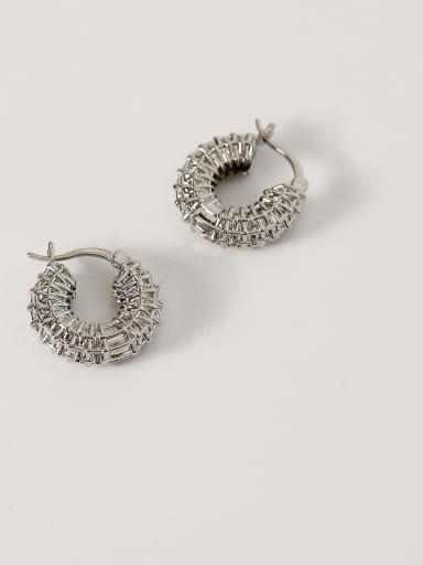 whiteK Brass Hollow Geometric Vintage Hoop Earring