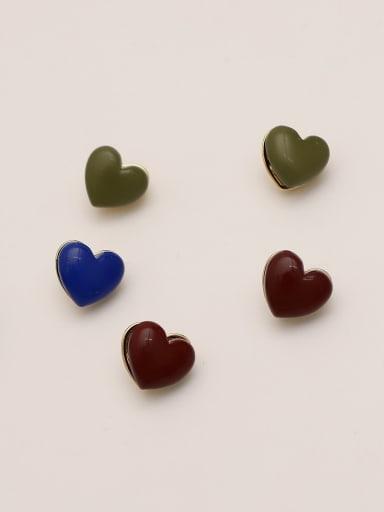 Brass Enamel Heart Minimalist Stud Earring