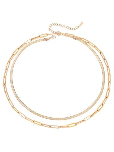 rose gold Stainless steel Irregular Hip Hop Multi Strand Necklace