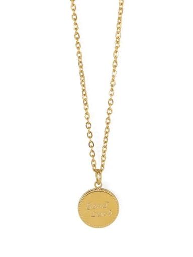 Titanium Letter round Minimalist  pendant Necklace