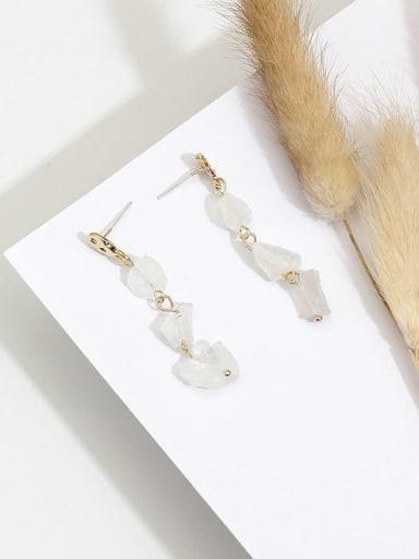 Copper Crystal Irregular Dainty Drop Earring