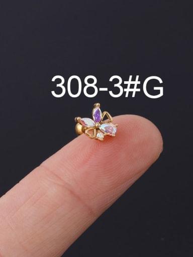 3 #gold Brass Cubic Zirconia Multi Color Ball Stud Earring(Single)
