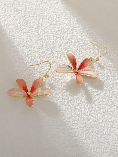 Gradient powder Brass Enamel Flower Minimalist Hook Earring