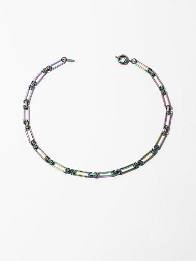 Nodal chain Brass Geometric Hip Hop Beaded Necklace
