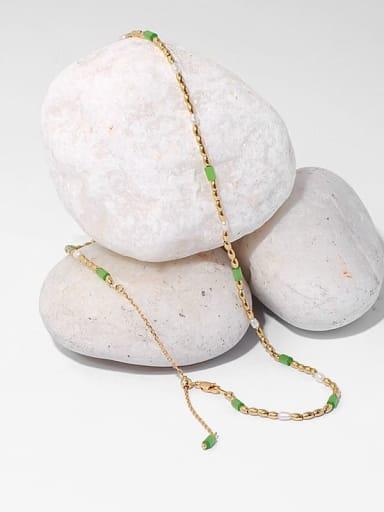 Brass Imitation Pearl Geometric Minimalist Beaded Necklace