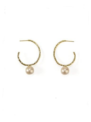 Brass Imitation Pearl Geometric Vintage Hoop Earring