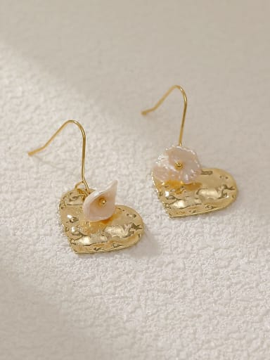 Brass Shell Heart Minimalist Hook Earring