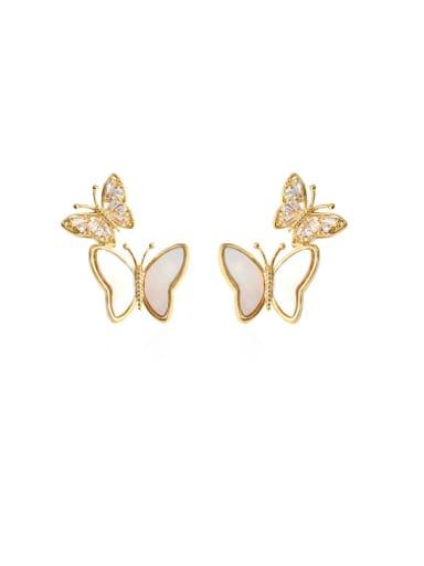 Brass Shell Butterfly Minimalist Drop Earring