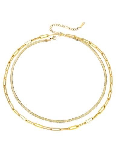 golden Stainless steel Irregular Hip Hop Multi Strand Necklace