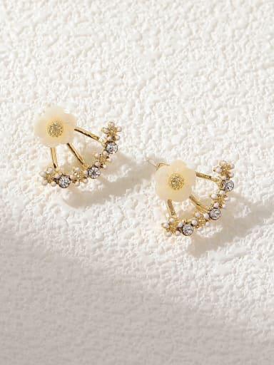 Brass Imitation Pearl Flower Vintage Stud Earring