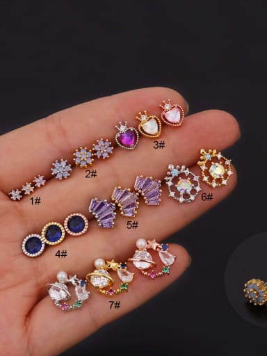 Brass with Cubic Zirconia Multi Color Round Dainty Stud Earring
