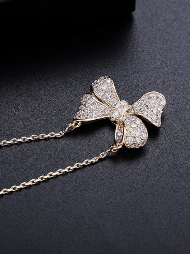 Brass Cubic Zirconia Butterfly Minimalist Necklace