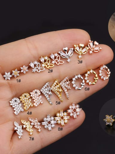 Copper with Cubic Zirconia White Flower Dainty Stud Earring