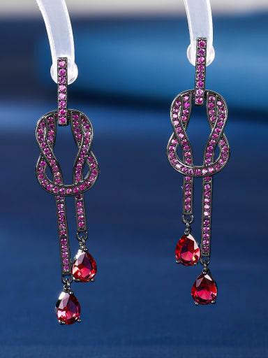 red Brass Cubic Zirconia Geometric Vintage Drop Earring