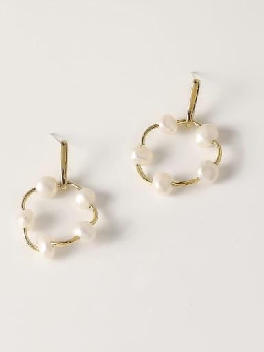 Brass Freshwater Pearl Geometric Minimalist Drop Trend Korean Fashion Earring