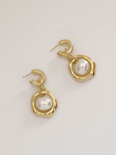 Brass Imitation Pearl Geometric Vintage Drop Earring