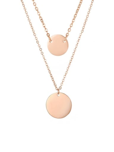 rose gold Stainless steel Round Dainty Multi Strand Necklace