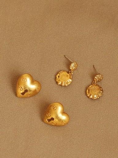 Brass Heart Vintage Chandelier Earring