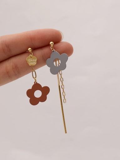 Brass Enamel Asymmetry Flower Ethnic Drop Earring
