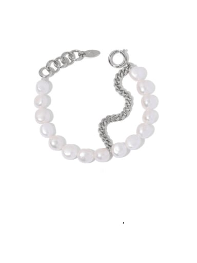 Platinum Brass Freshwater Pearl Geometric Minimalist Beaded Bracelet