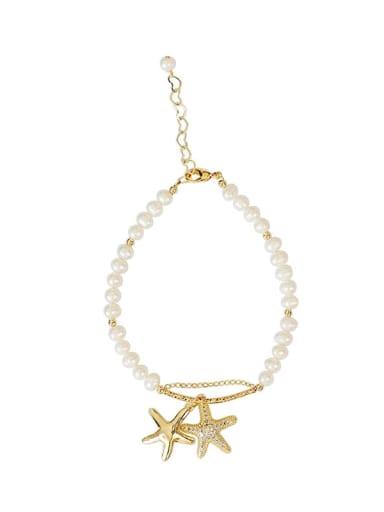 Copper Cubic Zirconia Star Minimalist Freshwater Pearls Bracelet