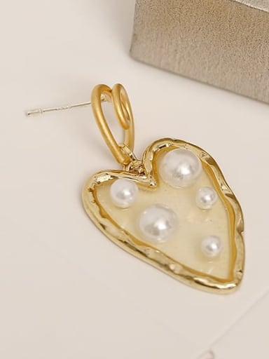 14K gold ear needle Brass Imitation Pearl Heart Vintage Chandelier Earring