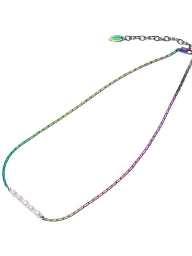 Colorful Necklace Brass Freshwater Pearl Geometric Minimalist Necklace