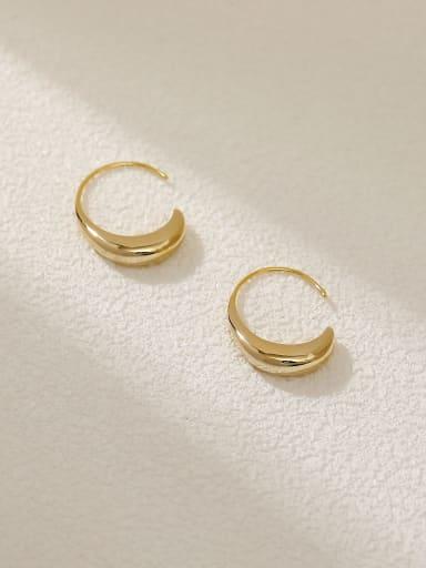 14k Gold Brass Water Drop Minimalist Hook Earring