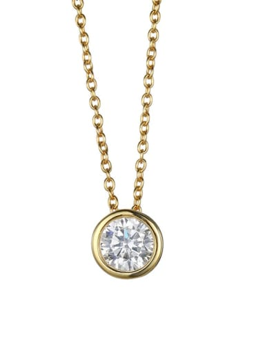 golden Stainless steel  Round Cubic Zirconia Round Minimalist Necklace