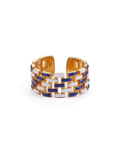 Blue and white drop oil Brass Enamel Geometric Hip Hop Band Ring